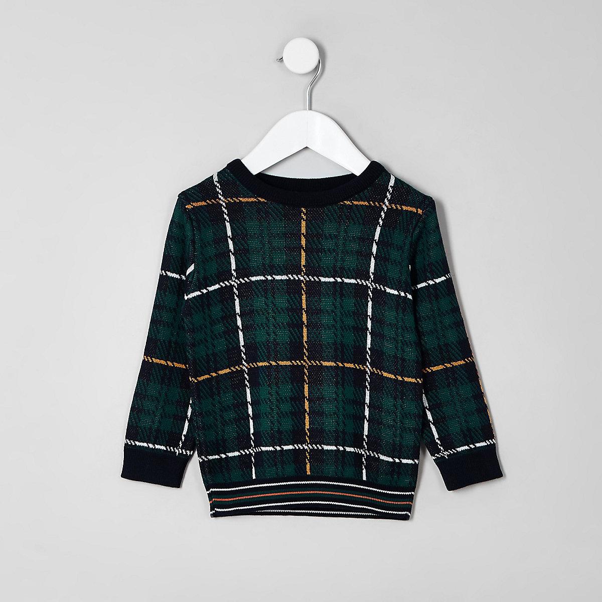 Mini boys green check sweater