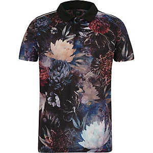Boys navy floral polo shirt