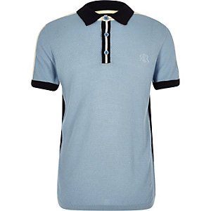 Boys blue block knit polo shirt