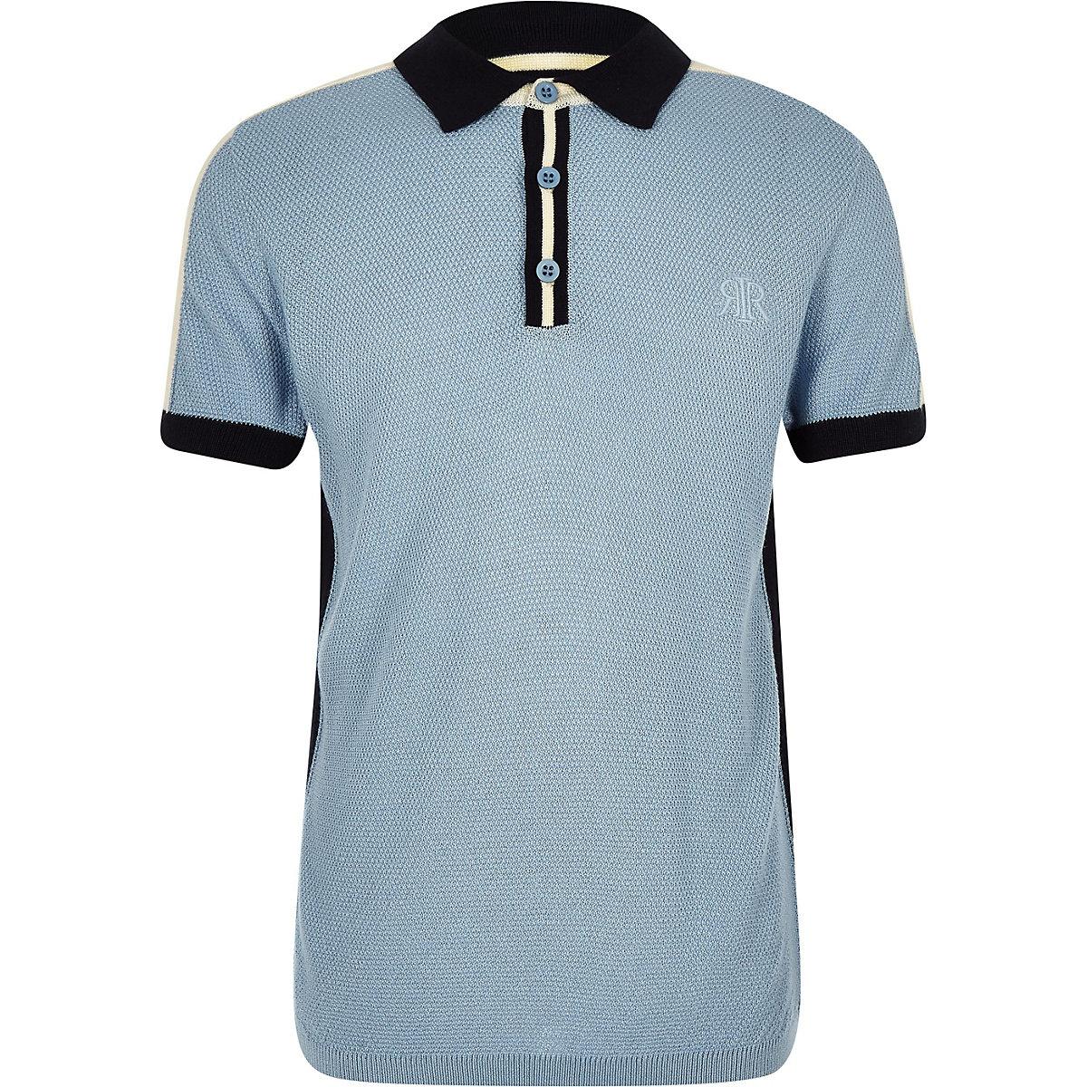 Boys blue block knit polo shirt