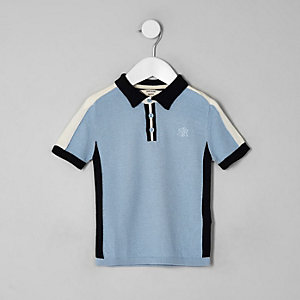 Mini boys blue blocked polo shirt