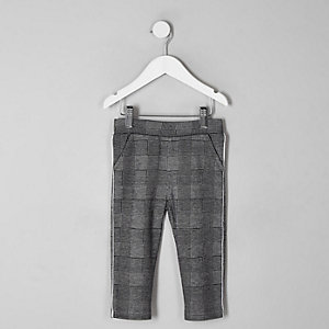 Mini boys grey check trousers