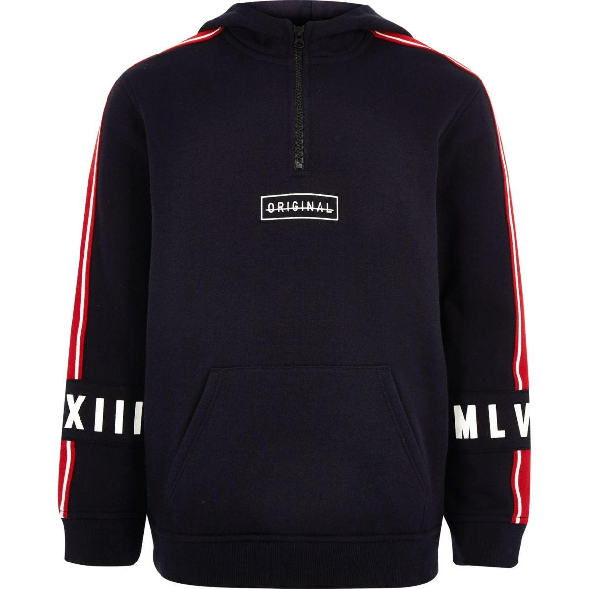 Boys navy tape sleeve half zip hoodie