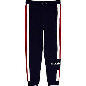 Pantalon de jogging bleu marine à bande pour garçon