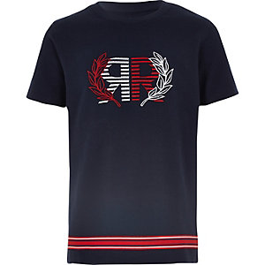 Boys navy pique RI embroidered T-shirt