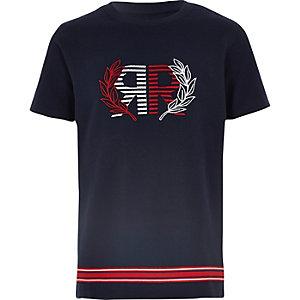 Marineblauw piqué T-shirt met geborduurd RI-logo voor jongens