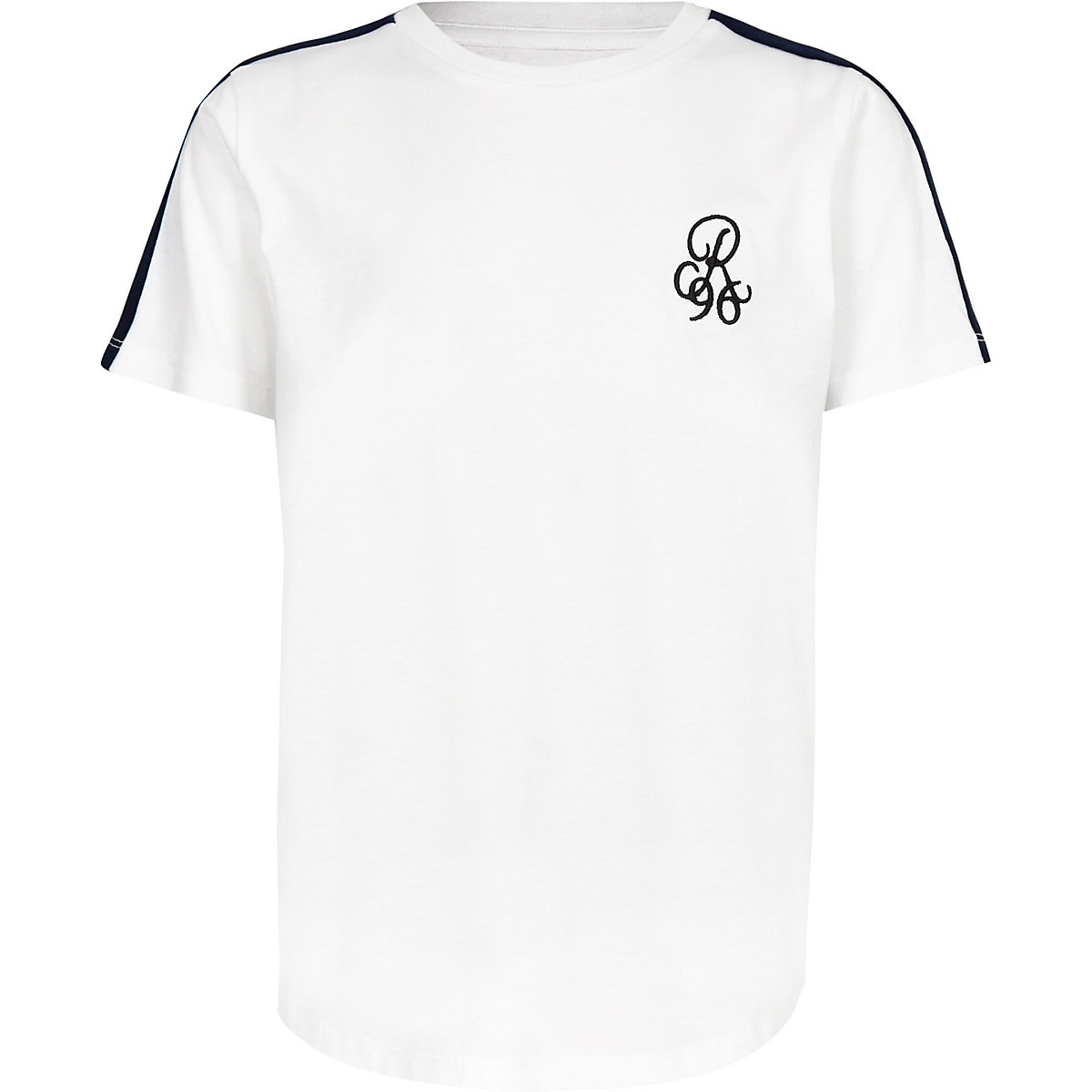 Boys white 'R96' tape sleeve T-shirt