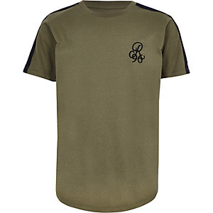 T-shirt «R96» kaki à bandes sur les manches pour garçon