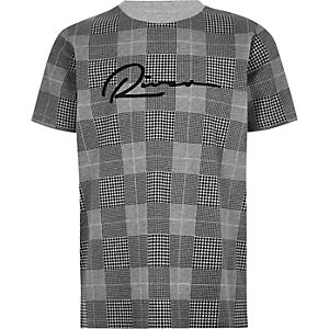 Boys grey check 'River' T-shirt