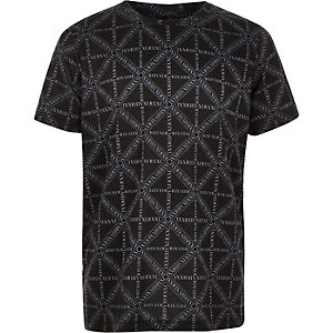 Boys black RI logo print T-shirt