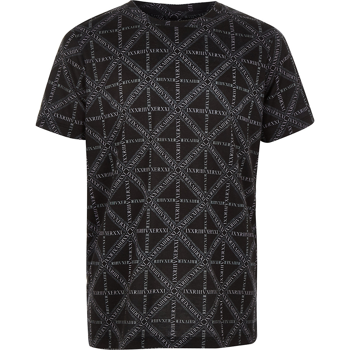 Schwarzes T-Shirt mit RI-Logoprint