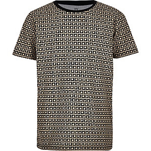 Boys beige RI monogram T-shirt