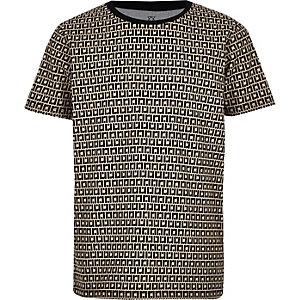 T-shirt beige avec monogramme RI pour garçon