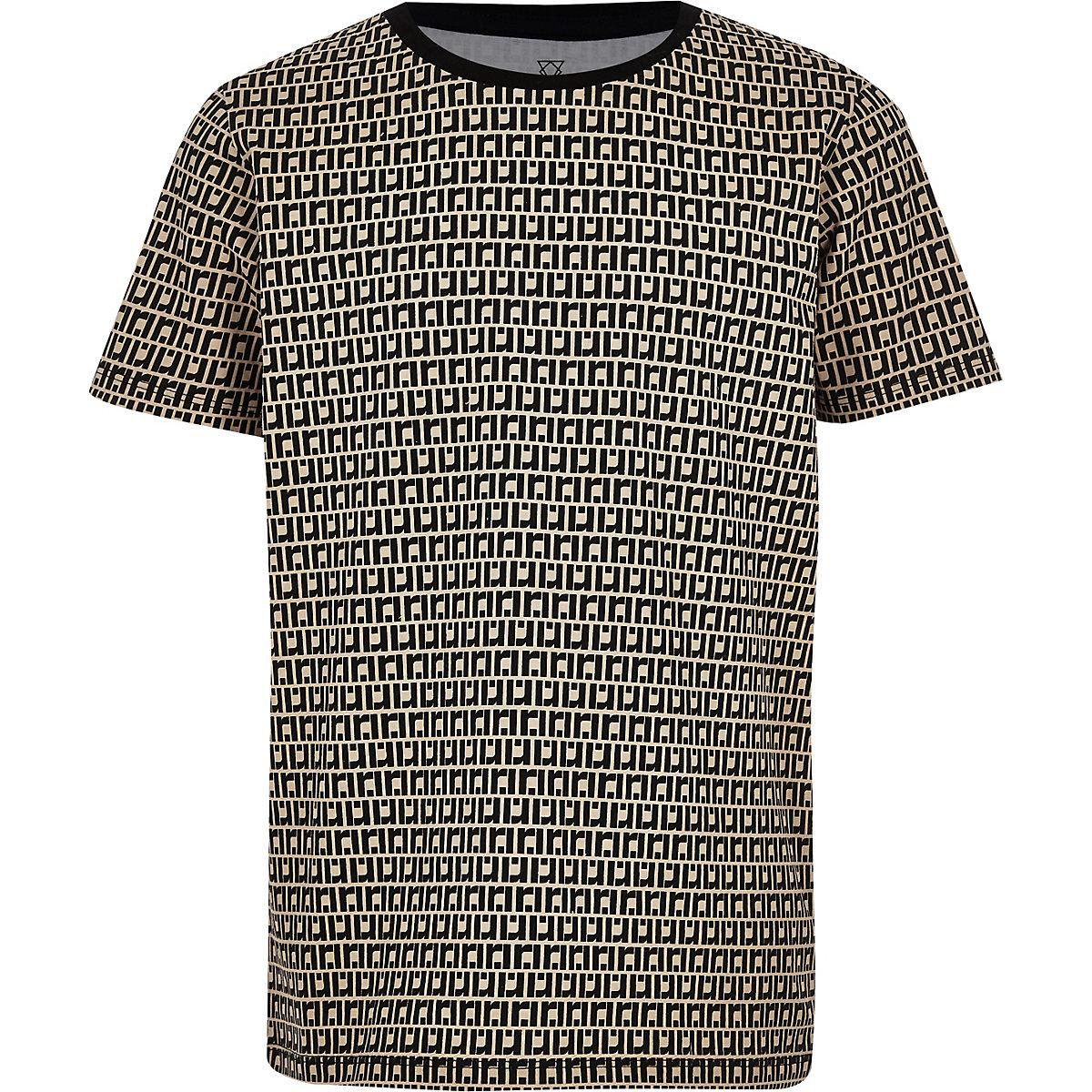 Boys beige RI monogram T-shirt