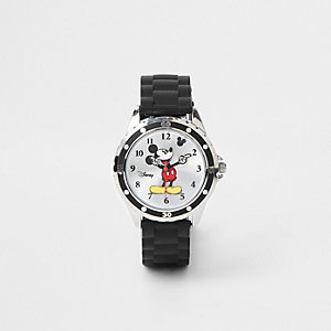 Boys black rubber strap Mickey Mouse watch
