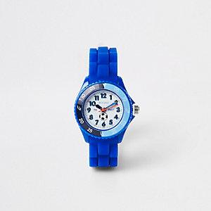 Montre sport avec bracelet en caoutchouc bleu garçon