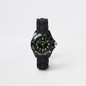 Boys black rubber strap sport watch
