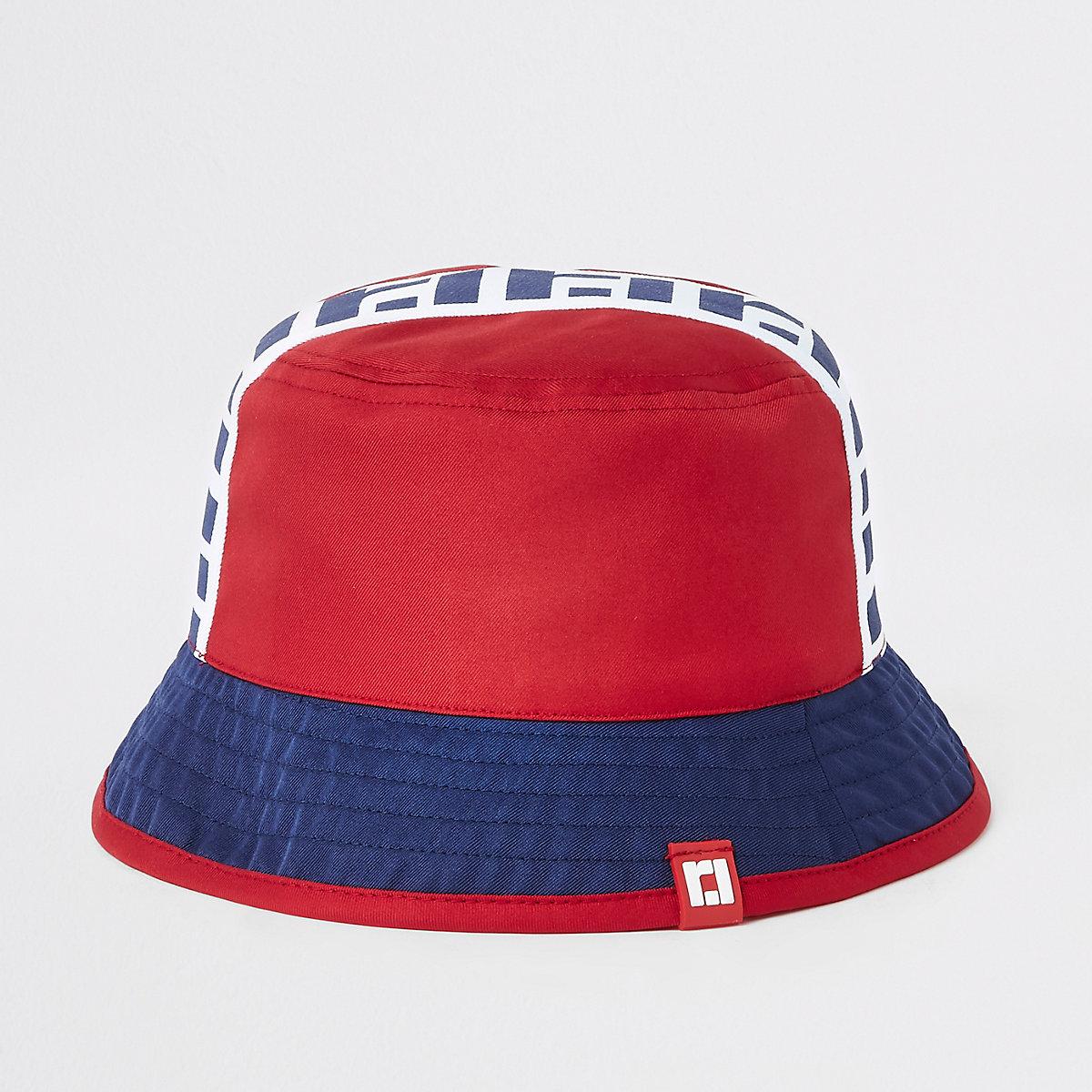 Mini boys red RI reversible bucket hat