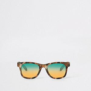Mini - Kaki retro zonnebril met camouflageprint voor jongens