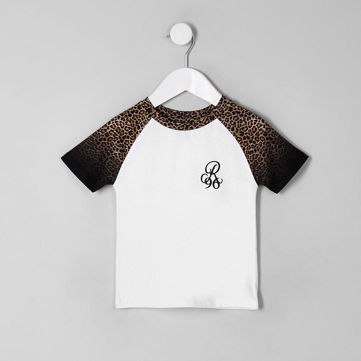 Mini boys 'R96' leopard print trim T-shirt