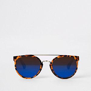 Bruine zonnebrillen met retro schildpadmontuur voor jongens