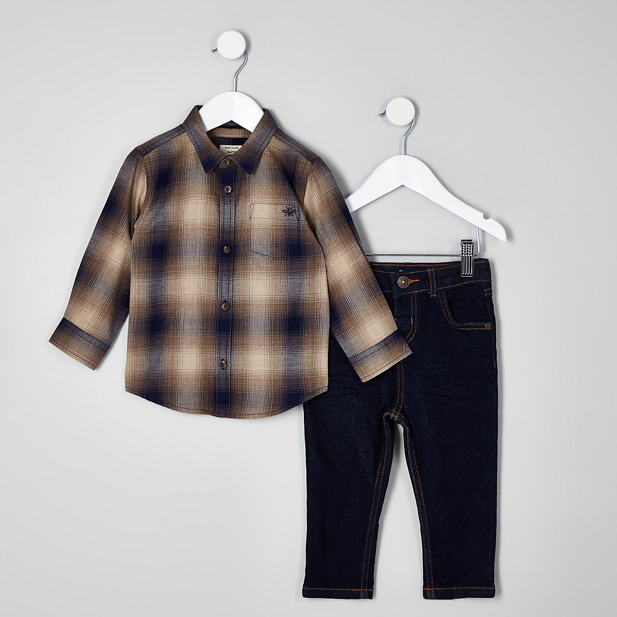 Mini boys brown check shirt and jeans outfit