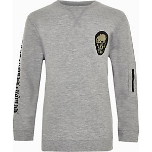 Boys grey flock skull print sweatshirt