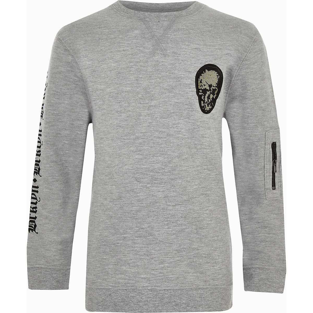 Boys grey flock skull print sweatshirt