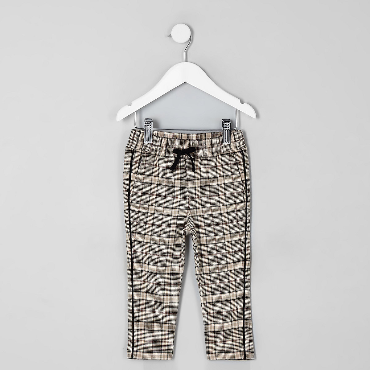 Mini boys ecru check tapered trousers