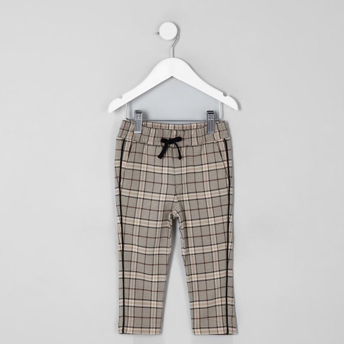 Mini boys ecru check tapered pants