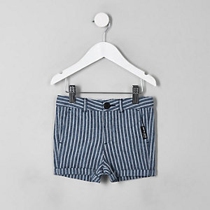 Mini boys navy stripe linen shorts