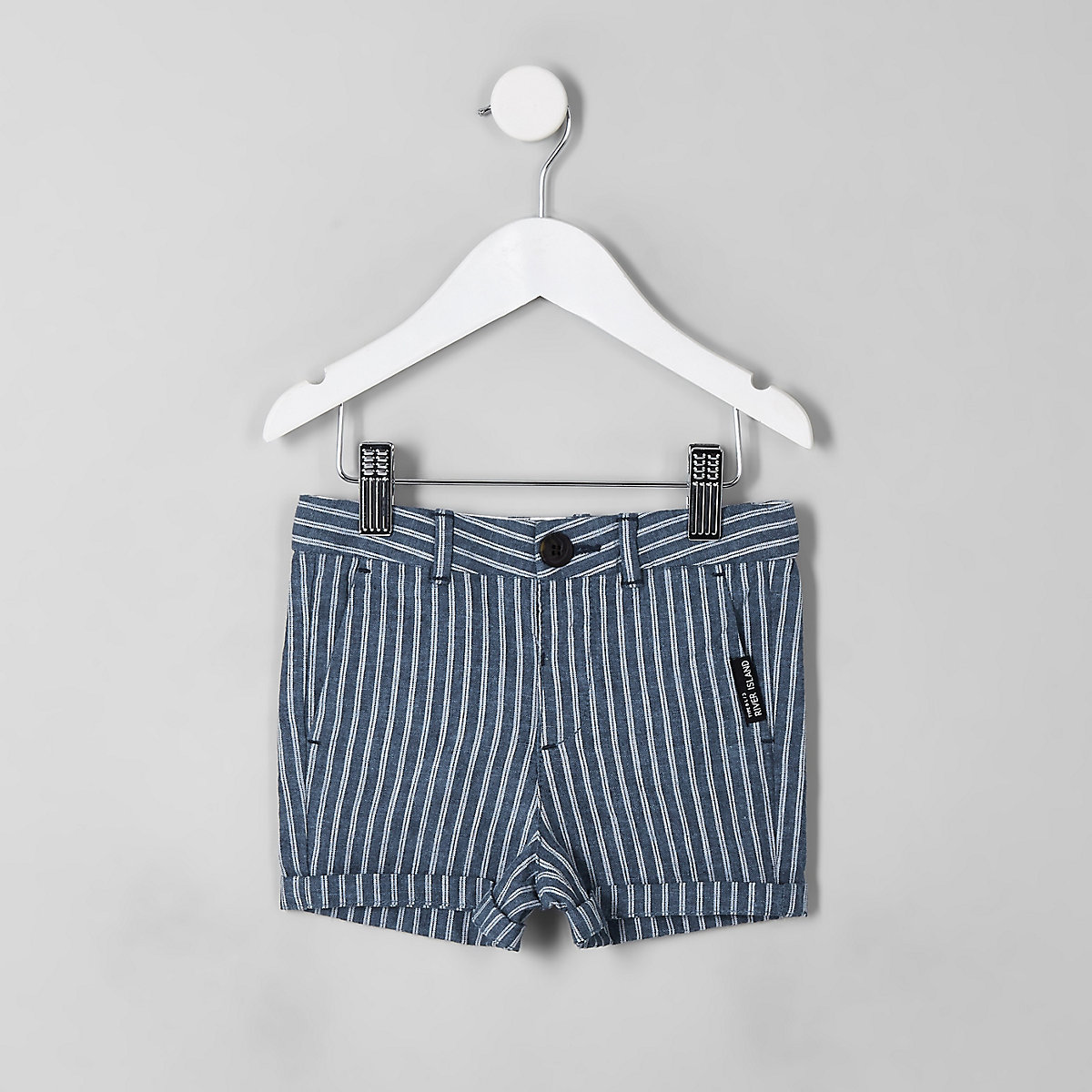 Mini boys navy stripe linen shorts