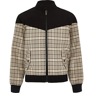 Boys brown check Harrington jacket