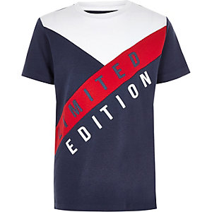Marineblauw T-shirt met 'Limited edition'-print en kleurvlakken voor jongens