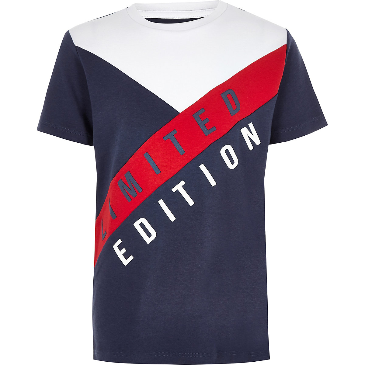 Boys navy 'Limited edition' block T-shirt