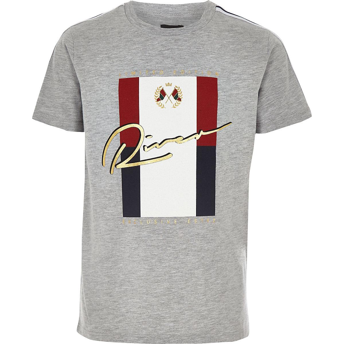 Boys grey 'River' foil print T-shirt