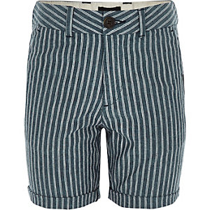 Boys navy stripe linen shorts