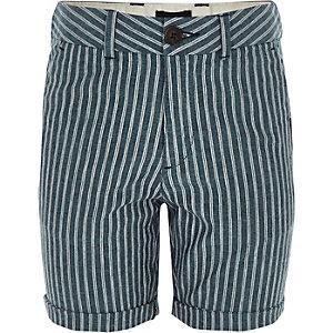 Boys navy stripe linen shorts