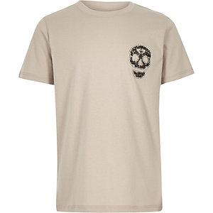 Kiezelkleurig T-shirt met doodshoofdprint, siersteentjes en studs voor jongens