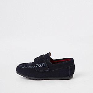 Marineblaue Loafer mit Klettverschluss