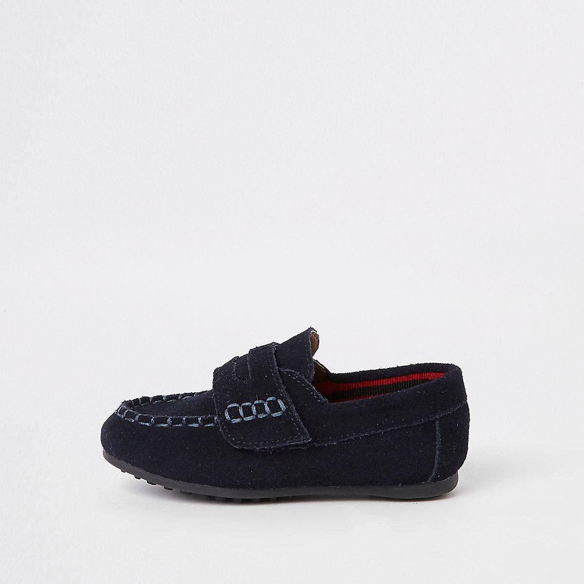 Mini boys navy velcro loafers