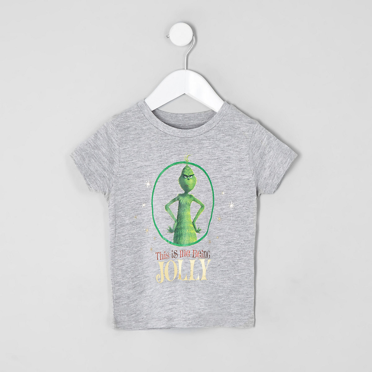Mini boys grey Grinch printed T-shirt