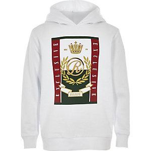 Witte hoodie met RI-logo en lange mouwen voor jongens