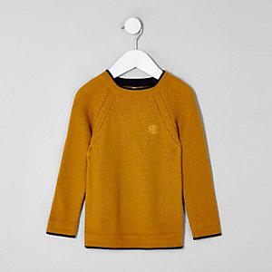 Mini - Gele gebreide pullover met RI-logo voor jongens