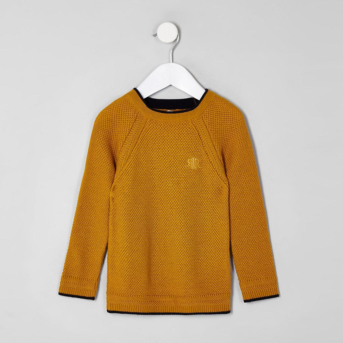 Mini boys yellow RI knit sweater