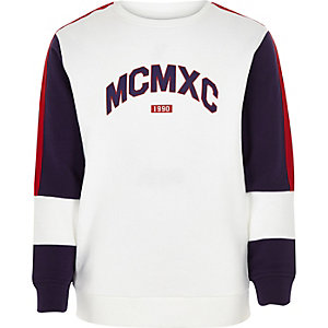 Boys white 'MCMXC' block sweatshirt