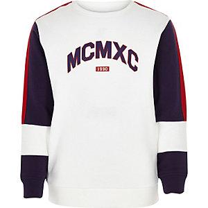 Sweat colour block « MCMXC » blanc pour garçon