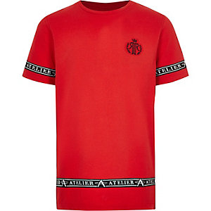 Boys red RI tape side T-shirt