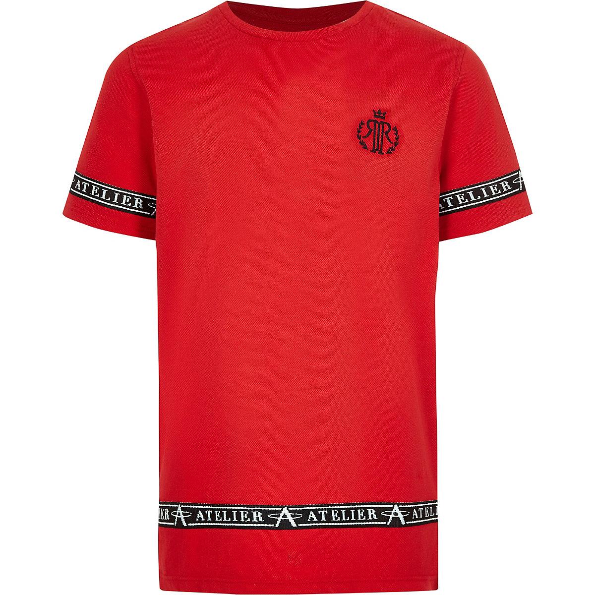 Boys red RI tape side T-shirt