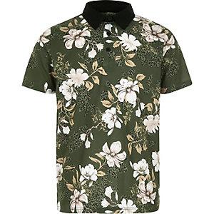 Boys khaki floral polo shirt